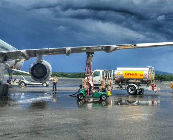 Plane getting fuel
